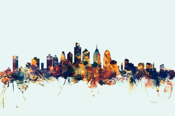 Philadelphia Art Print featuring the digital art Philadelphia Pennsylvania Skyline by Michael Tompsett
