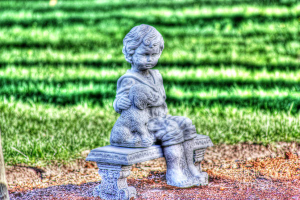 Statuary Art Print featuring the photograph A Boy And His Dog by David Bearden