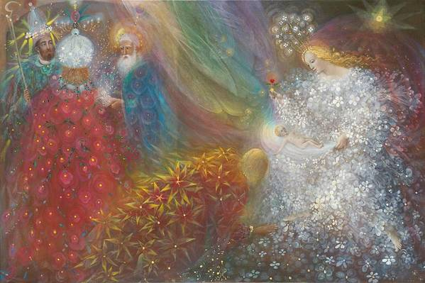 Nativity Art Print featuring the painting A Child Is Born by Annael Anelia Pavlova