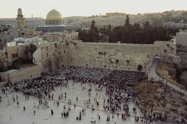 Israel Art Print featuring the photograph A Crowd Gathers Before The Wailing Wall by James L. Stanfield