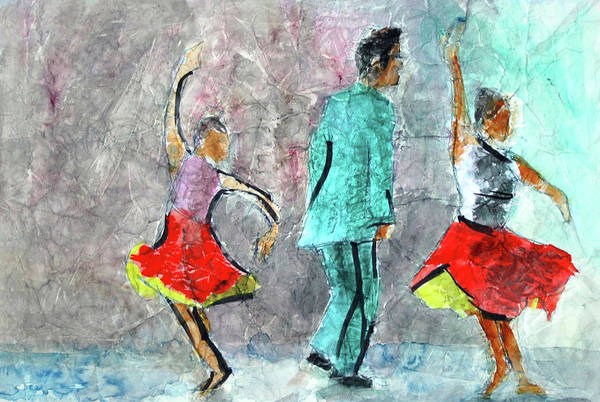 Dance Series Art Print featuring the painting A Dance For Three by Donna Crosby