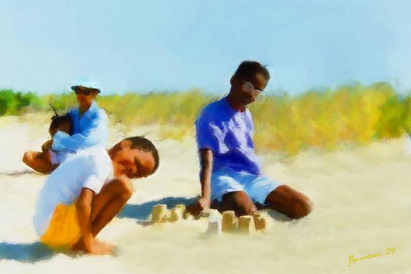Beach Art Print featuring the mixed media A Day On The Beach by Turhan Von Brandon
