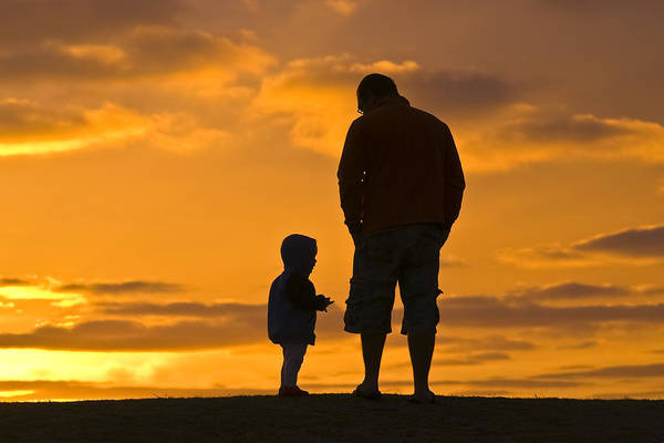 Outdoors Art Print featuring the photograph A Father And His Baby Son Watch by Jason Edwards