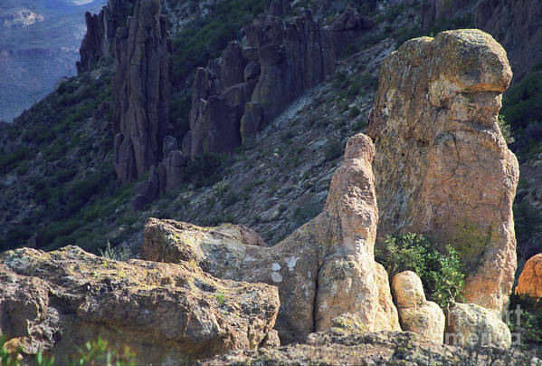 Rock Formations Art Print featuring the photograph A Hard Ride by Kathy McClure