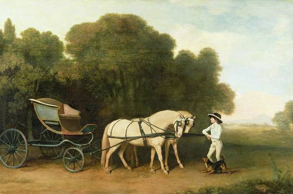 Xyc123100 Art Print featuring the photograph A Phaeton With A Pair Of Cream Ponies In The Charge Of A Stable-lad by George Stubbs