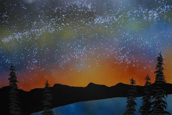 Summer Eve Lake Tahoe Night Sunset Mountains Lature Landscape Art Print featuring the painting A Summer's Eve At Lake Tahoe by Ed Moore