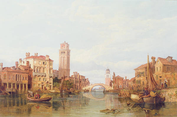 Veneto; Italy; River; Canal; Vessel; Townscape; Bridge; Tower; City Art Print featuring the painting A View Of Verona by George Clarkson Stanfield