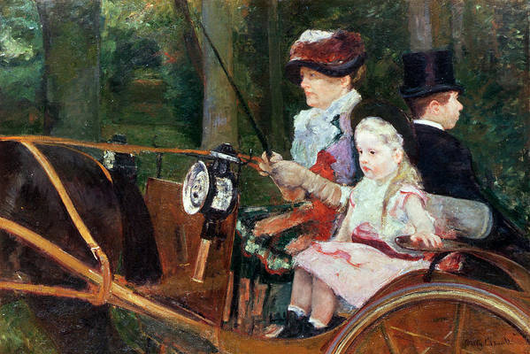 Woman Art Print featuring the painting A Woman And Child In The Driving Seat by Mary Stevenson Cassatt