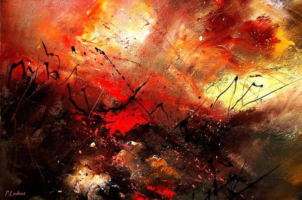 Abstract Art Print featuring the painting Abstract 100202 by Pol Ledent