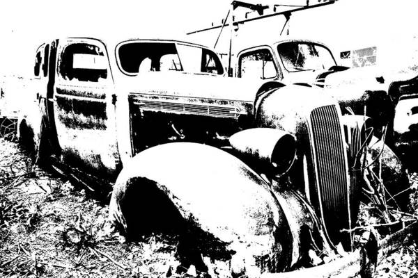 Abstract Art Print featuring the photograph Abstract High Contrast Old Car by MIke Loudemilk