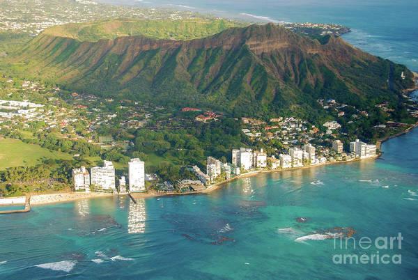 Aerial Art Print featuring the photograph Aerial - Diamond Head Crater, Honolulu, Hawaii 934 by D Davila