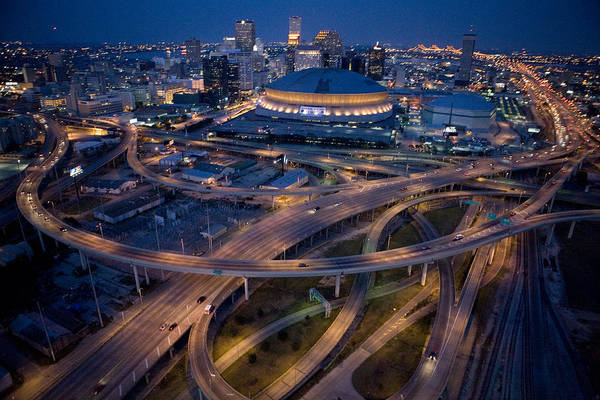 Night Art Print featuring the photograph Aerial Of The Superdome In The Downtown by Tyrone Turner