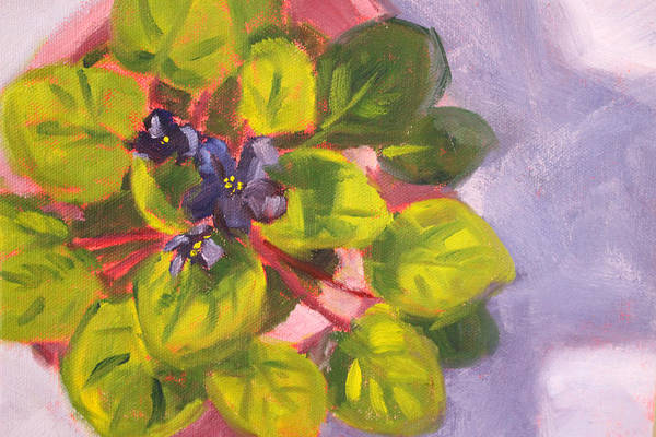 African Art Print featuring the painting African Violet Still Life Oil Painting by Nancy Merkle