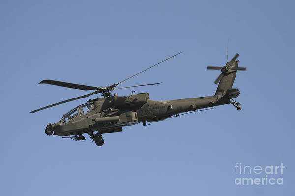 Chain Gun Art Print featuring the photograph Ah-64 Apache In Flight Over The Baghdad by Terry Moore