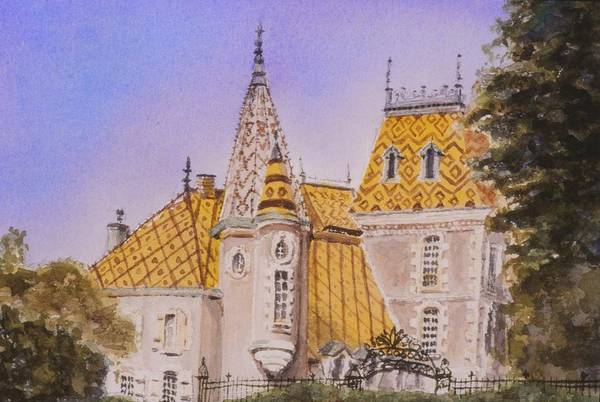 Vineyard Art Print featuring the painting Aloxe Corton Chateau Jaune by Mary Ellen Mueller Legault
