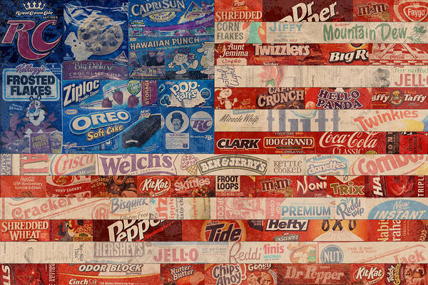 Flag Print featuring the mixed media American Flag - Made From Vintage Recycled Pop Culture Usa Paper Product Wrappers by Design Turnpike