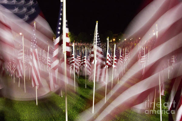 9-11 Art Print featuring the photograph American Flags Tribute To 9-11 by Cathy Severson