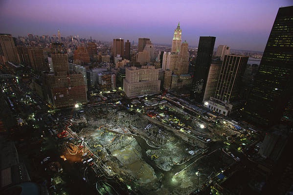 Disasters Art Print featuring the photograph An Aerial View Of Ground Zero by Ira Block