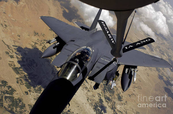 High Angle View Print featuring the photograph An F-15 Strike Eagle Prepares by Stocktrek Images