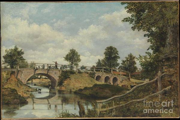 An Old Bridge At Hendon Art Print featuring the painting An Old Bridge At Hendon by Celestial Images