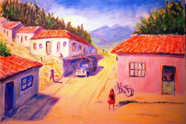 Oil Art Print featuring the painting Andean Village by Horacio Prada
