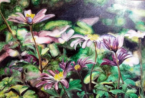 Floral Painting Art Print featuring the painting Anemones Japonaises by Muriel Dolemieux