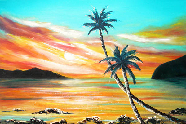 Sunset Art Print featuring the painting Another Sunset In Paradise by Gina De Gorna