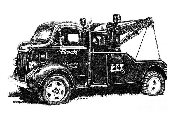 Vehicle Print featuring the drawing Antique Tow Truck by Sheryl Unwin