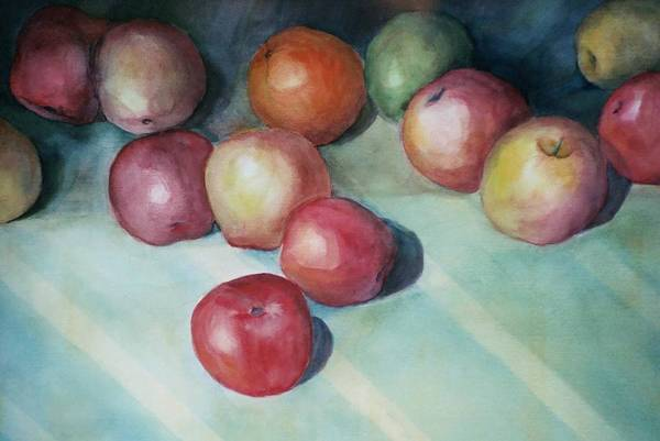 Orange Art Print featuring the painting Apples And Orange by Jun Jamosmos