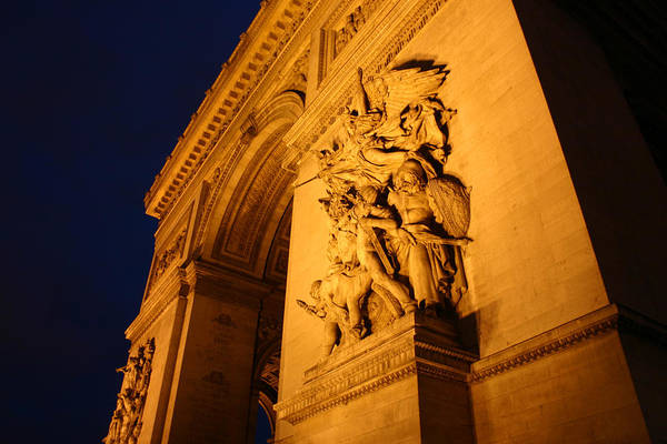 Digitial Photography Art Print featuring the photograph Arc De Triomphe At Night by Jennifer McDuffie