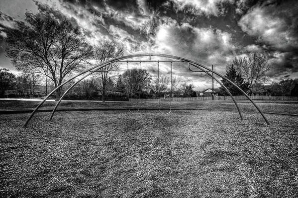 Cloudy Sky Art Print featuring the photograph Arch Swing Set In The Park 76 In Black And White by YoPedro