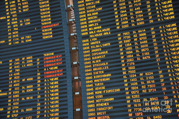 Accuracy Art Print featuring the photograph Arrival Board At Paris Charles De Gaulle International Airport by Sami Sarkis
