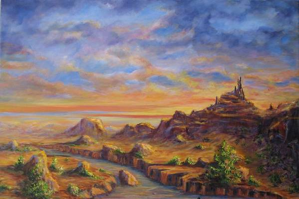 Desert Landscape Art Print featuring the painting Arroyo Sunset by Thomas Restifo
