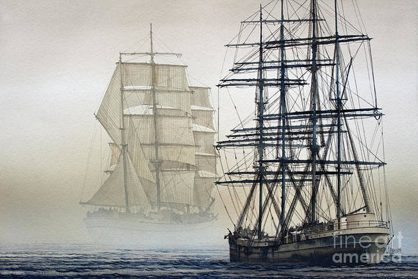 Tall Ship Print Art Print featuring the painting Atlas And Inverclyde by James Williamson