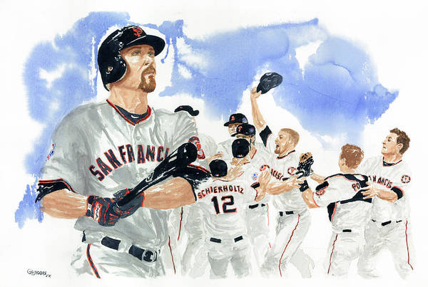 Baseball Art Print featuring the painting Aubrey Huff Study 1 by George Brooks