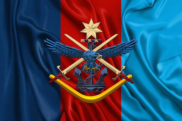 Australian Defence Force - A D F Joint Services Emblem Over Flag Art Print