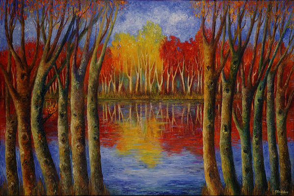 Landscape Art Print featuring the painting Autumn. by Evgenia Davidov