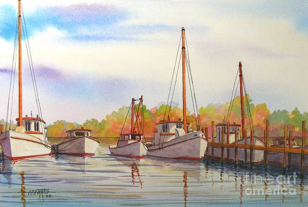 Autumn Art Print featuring the painting Autumn Harbor by Hugh Harris