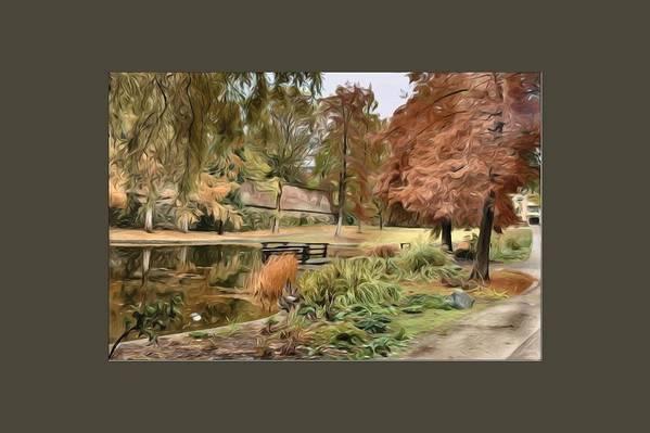 Autumn Art Print featuring the digital art Autumn In The Park by Amanda Patrick