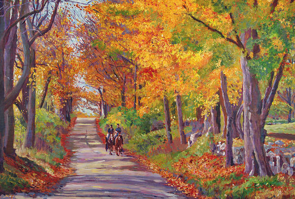 Landscape Print featuring the painting Autumn Ride by David Lloyd Glover
