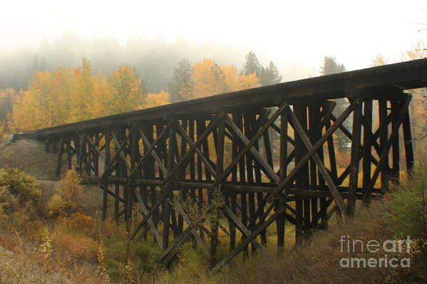 Trestle Art Print featuring the photograph Autumn Trestle by Idaho Scenic Images Linda Lantzy