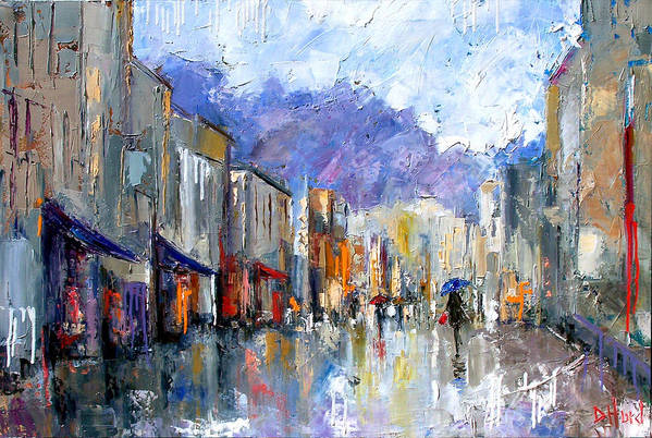 Architecture Art Print featuring the painting Awnings by Debra Hurd