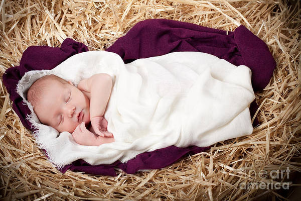 Nativity Print featuring the photograph Baby Jesus Nativity by Cindy Singleton