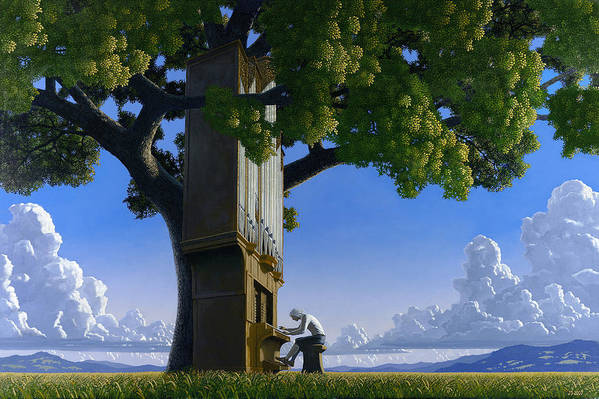 Landscape Art Print featuring the painting Bach In Heaven by Jonathan Day