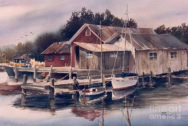 Water Art Print featuring the painting Backwater Fish Shack by Oscar Rayneri
