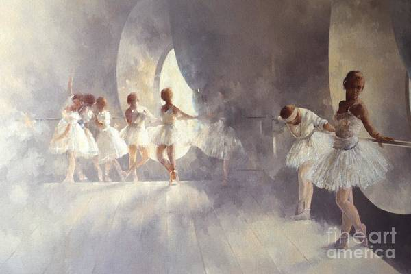 Ballerina; Ballet; Girls; Girl; Female; Dance; Dancing; Dancers; Interior; Tutu; Leotard; Ballet Studio Print featuring the painting Ballet Studio by Peter Miller