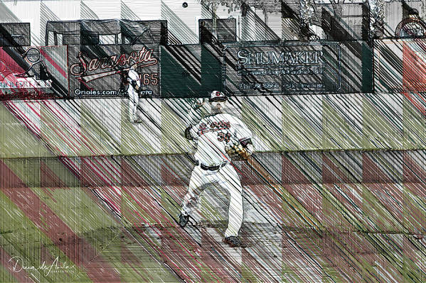 Baseball Art Print featuring the digital art Baltimore Orioles Pitcher - Chris Tillman - Spring Training by Diana De Avila