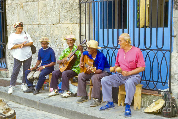 Havana Cuba Cathedral Plaza Band Bands City Cities Cityscape Cityscape Person Persons People Creature Art Print featuring the photograph Band Of Locals by Bob Phillips