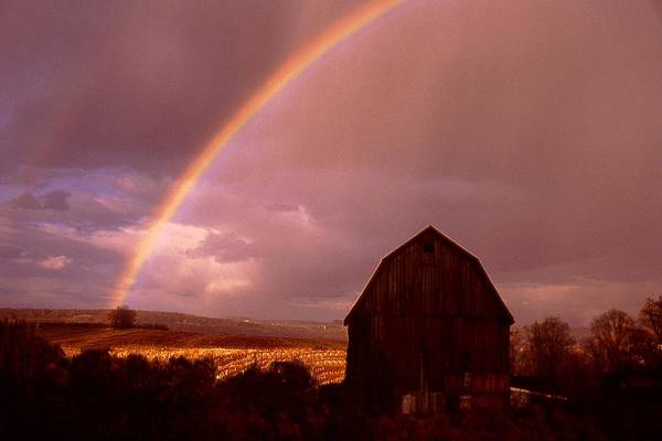 Harvest Art Print featuring the photograph Barn And Rainbow In Autumn by Roger Soule