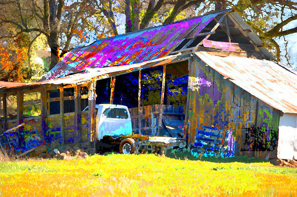 Art Print featuring the digital art Barn And Truck by Danielle Stephenson